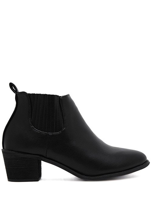 Stitching Chunky Heel Pointed Toe Ankle Boots