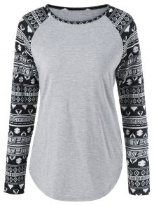 Long Tribal Sleeve T-Shirt - Light Gray Xl
