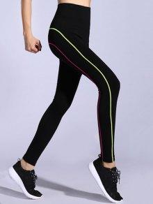Contrast-Trim Stretchy Gym Leggings - Pink + Green M