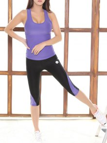 Skinny Tank Top And Stretchy Color Block Pants - Purple M