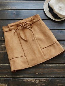 Faux Suded Belted Skirt - Camel