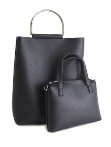 Magnetic Metal Handle PU Leather Tote Bag
