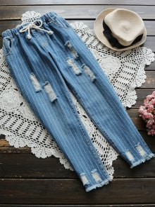 Drawstring Striped Ripped Jeans