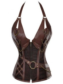 Halter Faux Leather Steel Boned Corset - Coffee L