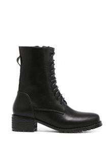 Buy Zipper PU Leather Tie Short Boots 37 BLACK
