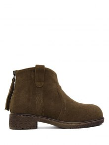 Buy Zipper Dark Colour Suede Ankle Boots - DARK COFFEE 39