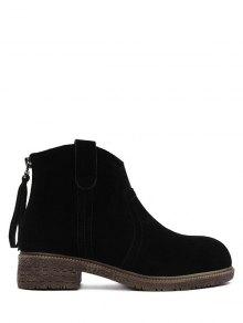 Buy Zipper Dark Colour Suede Ankle Boots 39 BLACK