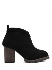 Buy Suede Dark Colour Chunky Heel Ankle Boots - BLACK 38