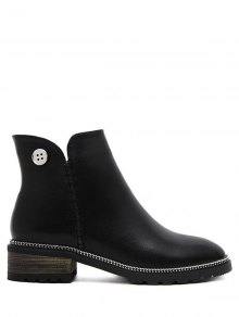 Buy Chain Stitching Button Ankle Boots 38 BLACK