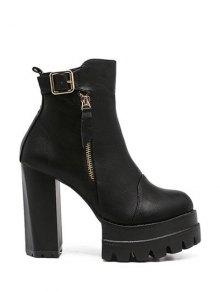 Buy Buckle Platform Double Zipper Ankle Boots - BLACK 38