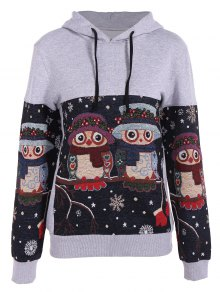 Snowflake Owl Jacquard Christmas Hoodie