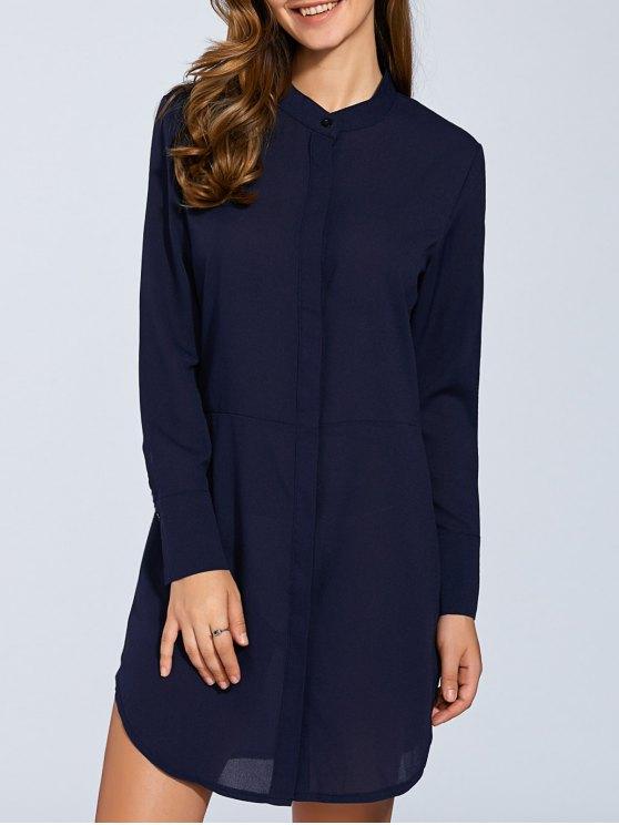 Manga larga de shirtdress - Azul M