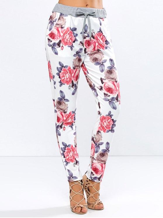 affordable Floral Print Drawstring Narrow Feet Pants - FLORAL L