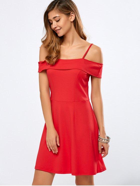 lady Foldover Cold Shoulder A Line Dress - RED S