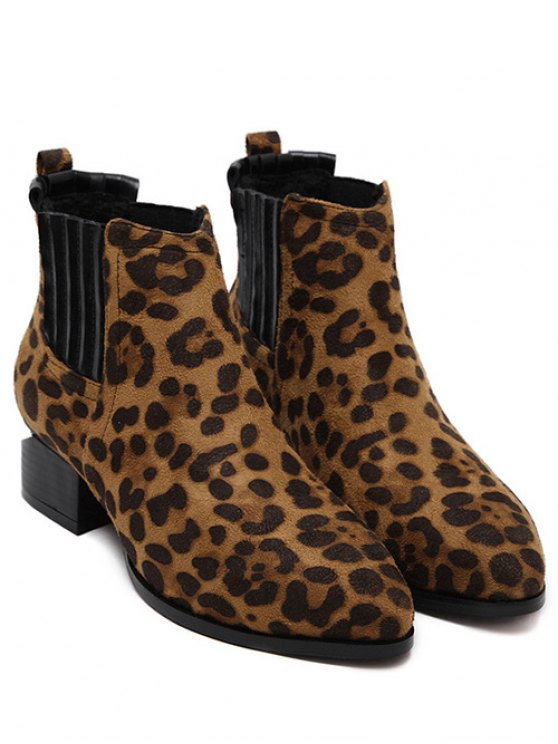Leopard Print Splicing Stitching Ankle Boots - LEOPARD 38 Mobile