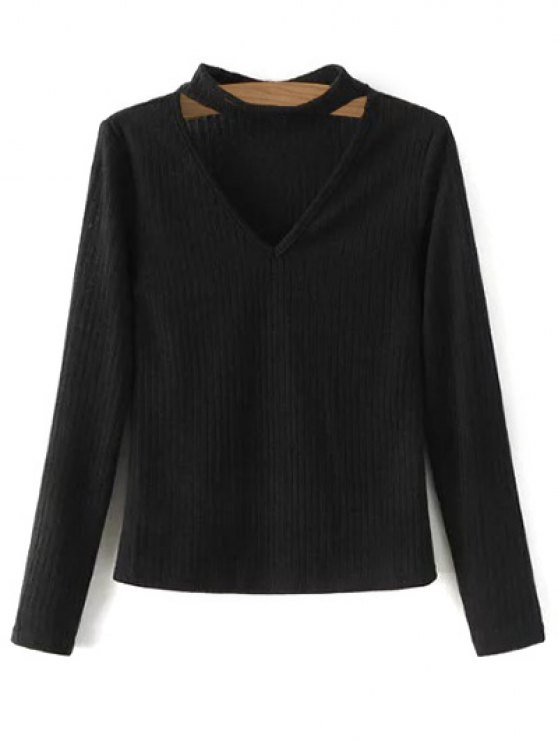 fashion Cutout V Neck Choker Jumper - BLACK S