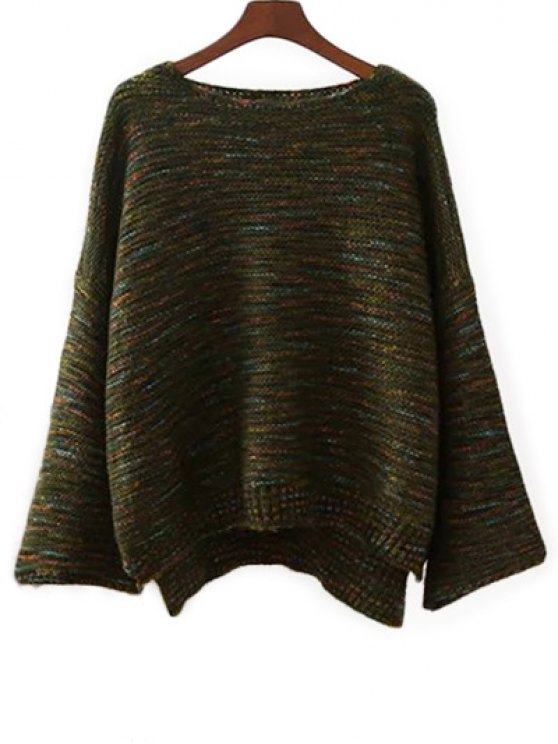 Marled Oversized Sweater - GREEN ONE SIZE Mobile