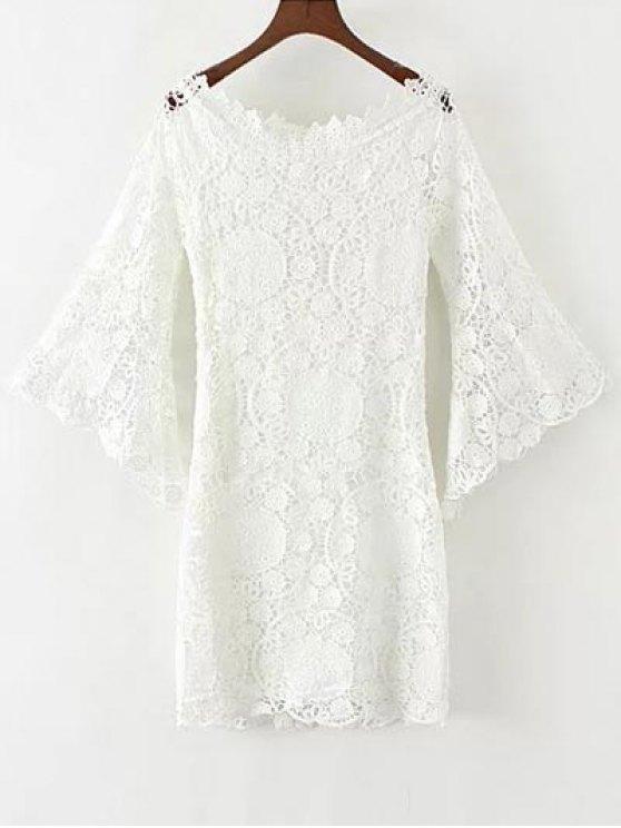 Bell Sleeve Crochet Bodycon Dress - WHITE L Mobile