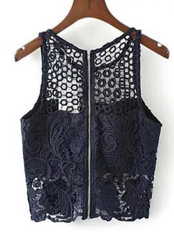 Crochet Flower Padded Crop Top - PURPLISH BLUE M Mobile