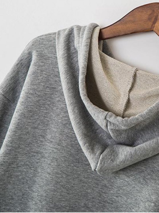Zip Hem Panelled Oversized Hoodie - GRAY ONE SIZE Mobile