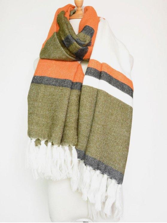 latest Color Block Stripe Tassel Pendant Shawl Scarf - ORANGEPINK