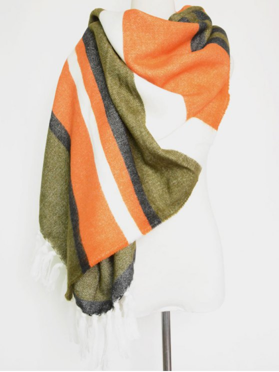 Color Block Stripe Tassel Pendant Shawl Scarf - ORANGEPINK  Mobile