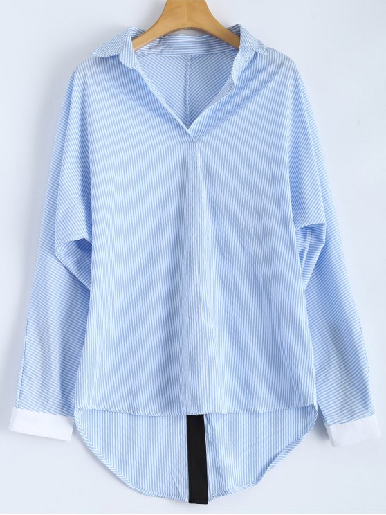 affordable Loose Striped Slit Shirt - BLUE AND WHITE 2XL