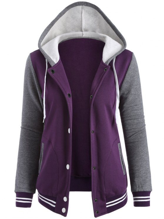 Varsity Baseball Fleece Hoodie Jacket - PURPLE M Mobile