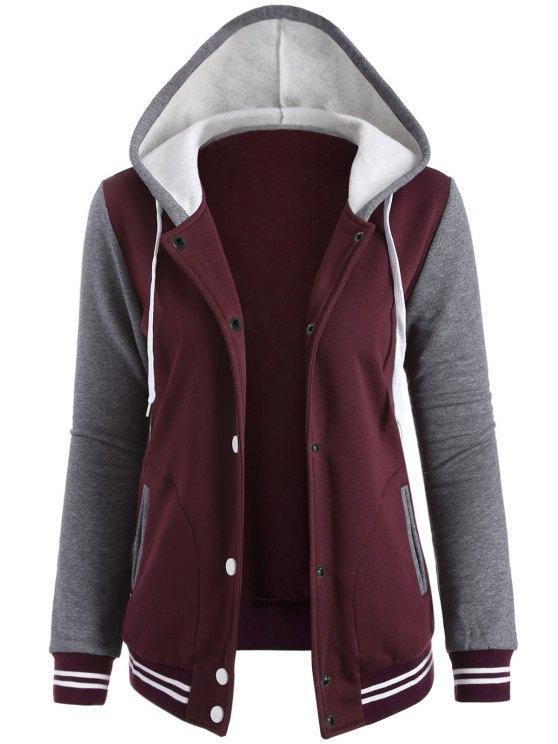 trendy Varsity Baseball Fleece Hoodie Jacket - WINE RED M