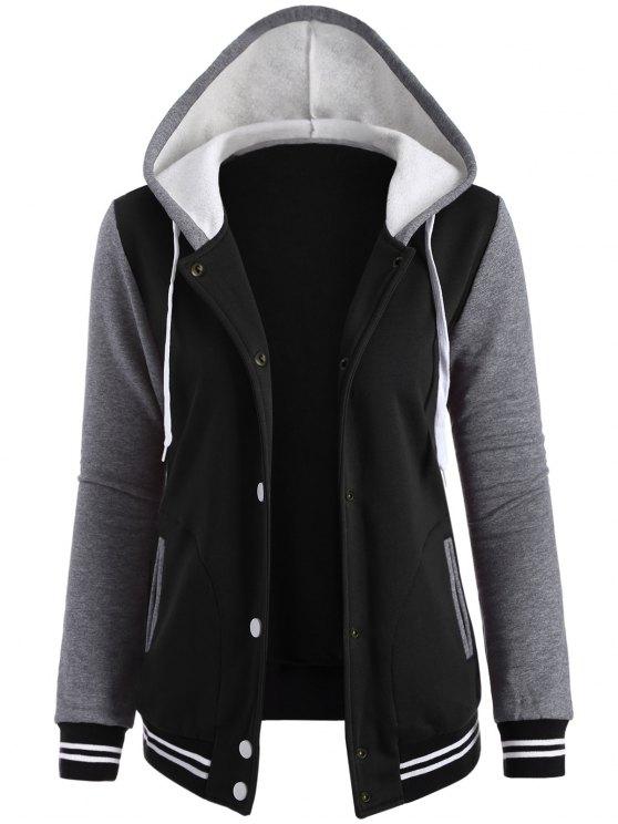 buy Varsity Baseball Fleece Hoodie Jacket - BLACK L
