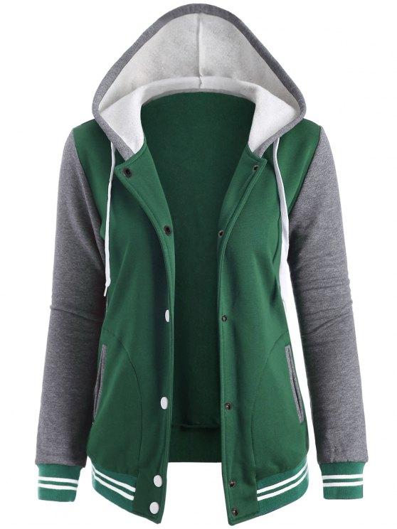 chic Varsity Baseball Fleece Hoodie Jacket - GREEN XL