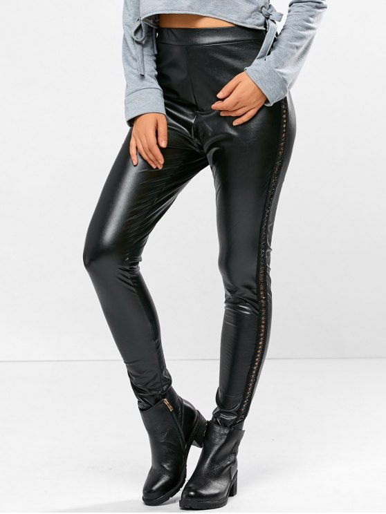 outfit PU Leather Openwork Leggings - BLACK XL