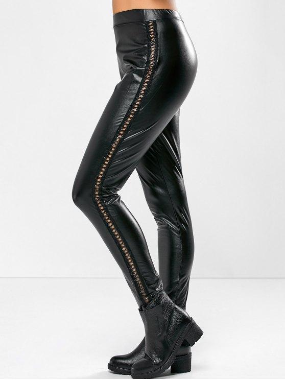 PU Leather Openwork Leggings - BLACK XL Mobile