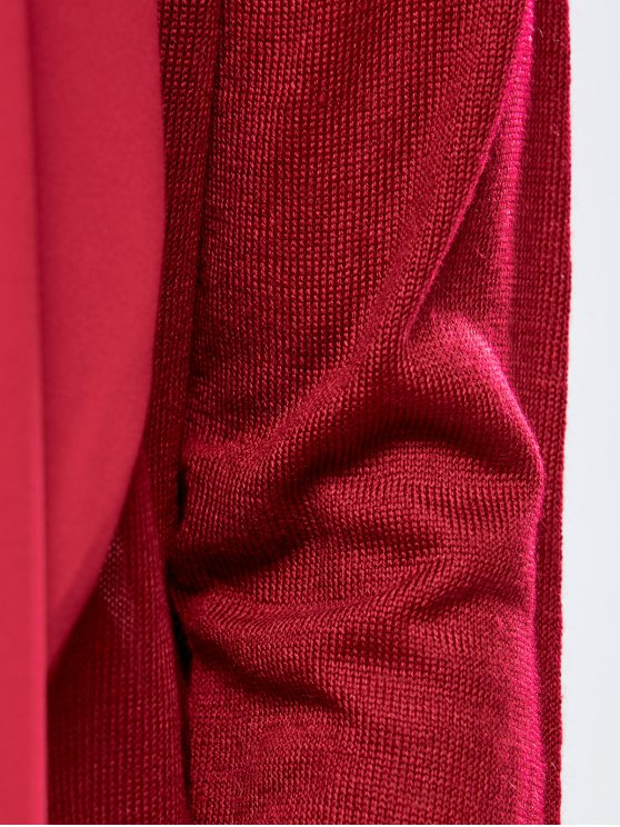 Chiffon Spliced Fitting Cardigan - RED L Mobile