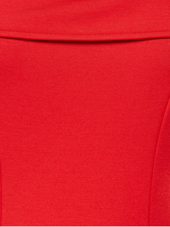 Foldover Cold Shoulder A Line Dress - RED L Mobile