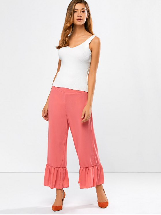 Wide Leg High Rise Pants - RED ORANGE L Mobile