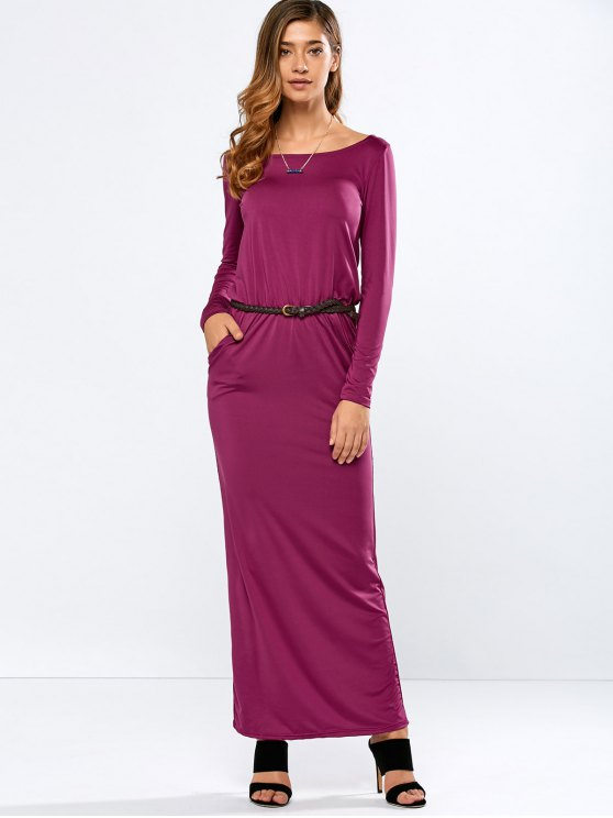 fancy Maxi Belted Dress - PURPLE M