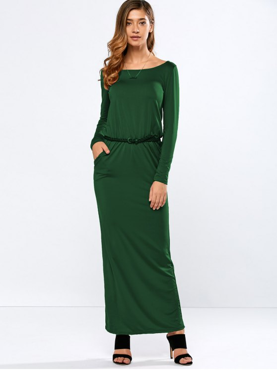buy Maxi Belted Dress - GREEN M