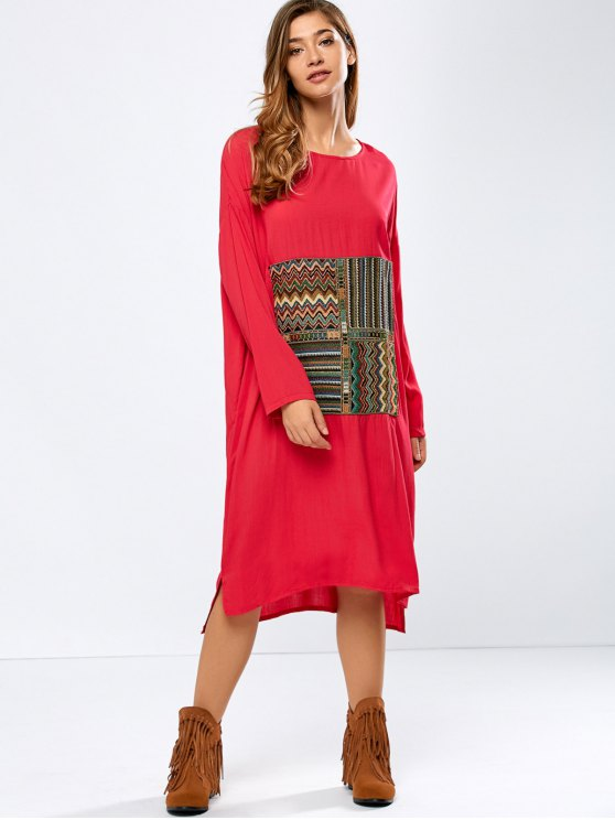 ladies Embroidered High-Low Dress - RED XL