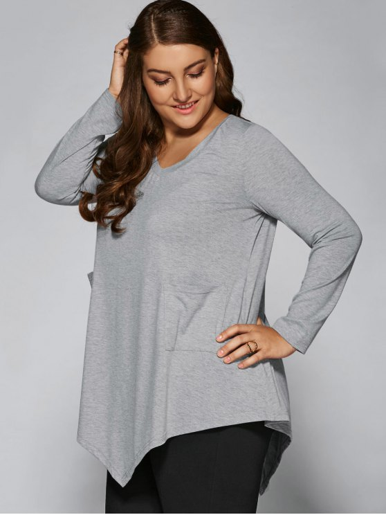 Plus Size Asymmetric One Pocket Blouse - LIGHT GRAY XL Mobile