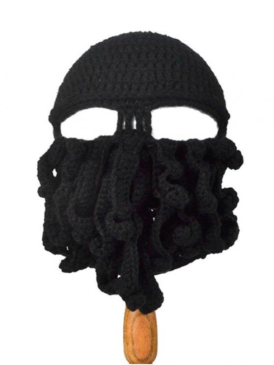 Motif Tentacle Octopus Crochet Mask Hat - Noir