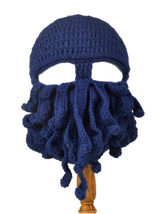 sale Tentacle Octopus Shape Crochet Mask Hat - CADETBLUE