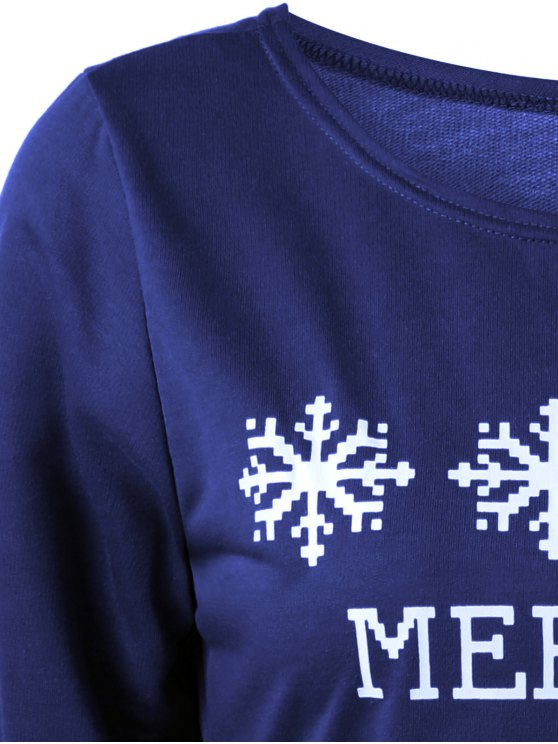 Merry Christmas Snowflake Print Sweatshirt - DEEP BLUE M Mobile
