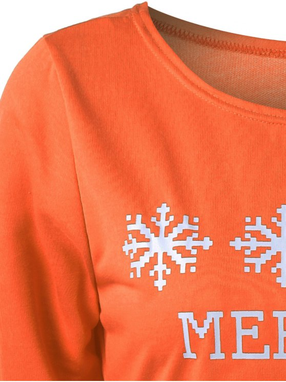 Merry Christmas Snowflake Print Sweatshirt - ORANGE L Mobile