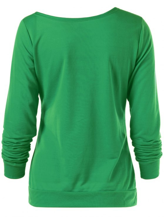 Merry Christmas Snowflake Print Sweatshirt - GREEN S Mobile