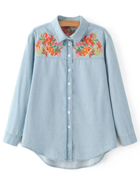 ladies Embroidered Yoke Denim Shirt - LIGHT BLUE S