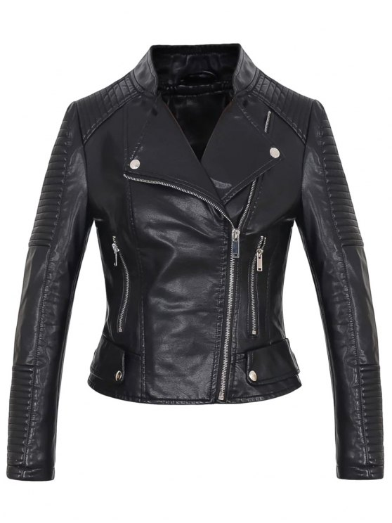 women Faux Leather Rib Trim Biker Jacket - BLACK L