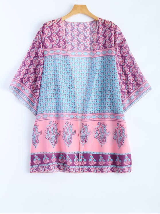 ladies Printed Bohemian Beach Cover Up - SHALLOW PINK ONE SIZE