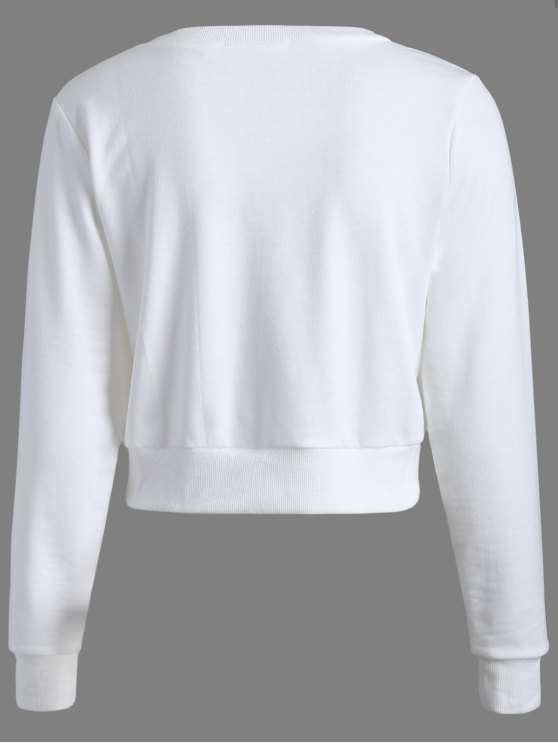 Casual Sports Cropped Sweatshirt - WHITE L Mobile