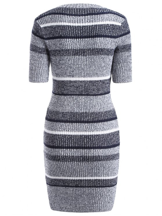 Short Sleeve Bodycon Sweater Dress - COLORMIX ONE SIZE Mobile